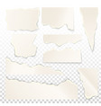 set of isolated white ripped paper vector image