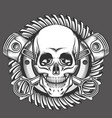skull with pistons against motorcycle gear emblem vector image vector image