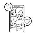 smartphone people talking hand like and love heart vector image vector image