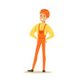smiling construction worker wearing orange helmet vector image vector image