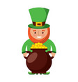 st patrick leprechaun holding pot full coins vector image vector image