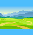 trail meanders in a hilly meadow vector image vector image