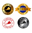 virginia badges gold stamp rubber band circle vector image vector image