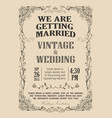 wedding invitation frame vintage border vector image vector image