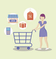woman with cart shopping and set icons vector image
