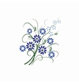 Beautiful isolated blue flowers vector image