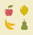 apple lemon banana and pear stylized images of vector image