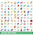 100 sea trip icons set isometric 3d style vector image vector image