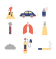 air pollution flat icon set vector image vector image