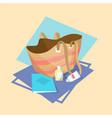 bag for beach icon summer sea vacation concept vector image vector image