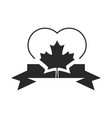 canada day heart maple leaf ribbon decoration vector image vector image