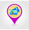 Card with palm pin map icon Summer Vacation vector image vector image