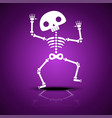 cartoon dancing skeleton with reflection on a vector image