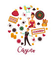 casino round promo emblem with gambling equipment vector image vector image