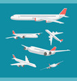 charter flat airplane in various point view vector image