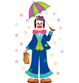 Clown with umbrella vector image vector image
