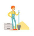 construction worker wearing orange helmet and work vector image vector image