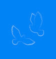 couple dove silhouette white free birds in sky vector image vector image