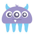 crazy monster with three eyes comic character vector image