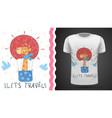 cute air balloon - idea for print t-shirt vector image vector image