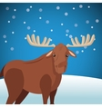 Cute moose wit snowy background image