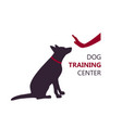 dog training center logo template with sitting dog vector image vector image