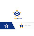 eye and star logo combination unique vector image