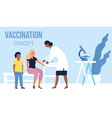family vaccination with mother and son vector image
