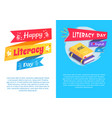 happy literacy day set poster text i love english vector image vector image