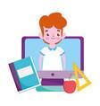 happy teachers day student boy in screen computer vector image vector image