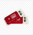 movie tickets red couple cinema tickets isolated vector image