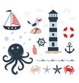 nautical set with underwater inhabitants on white vector image