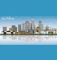 new orleans louisiana city skyline with gray vector image