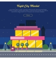 Night City Market Near Road Web Banner Flat Design vector image