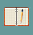 notebook and pencil isolated on a background vector image vector image
