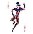 playing card joker with top hat decorated with vector image vector image