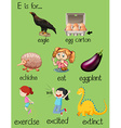 Poster letter E and different words vector image vector image