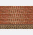 red brick wall and wooden floor vector image