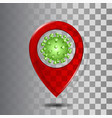 red transparent glass map point with coronavirus vector image vector image