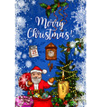 santa claus with gift bag christmas greeting card vector image