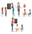 school education set teachers teaching students vector image vector image