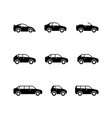 set glyph icons car vector image
