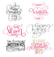 set of texts for mothers day vintage hand drawn vector image vector image