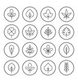 set round line icons of leaf vector image vector image