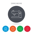 Sewing machine icon Embroidery sign vector image vector image