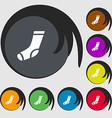 socks icon sign Symbols on eight colored buttons vector image