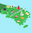 South Korea map isometric 3d style vector image vector image