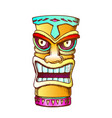 tiki idol carved wood statue color vector image vector image