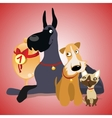 Two dogs and cat are winners crew vector image