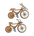 Two wooden retro bicycles decor animal skull vector image vector image